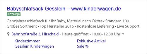 Babyshop Rasselbande AdWords Anzeige