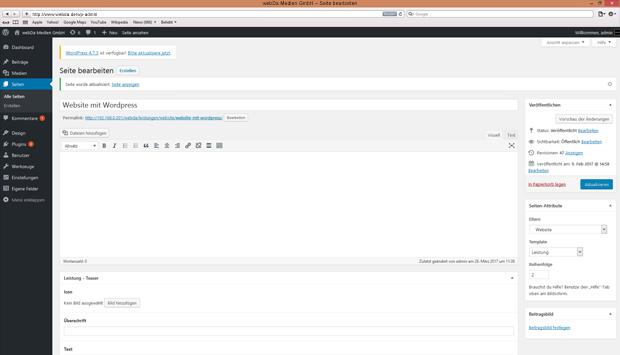 Wordpress Seitenbearbeitung